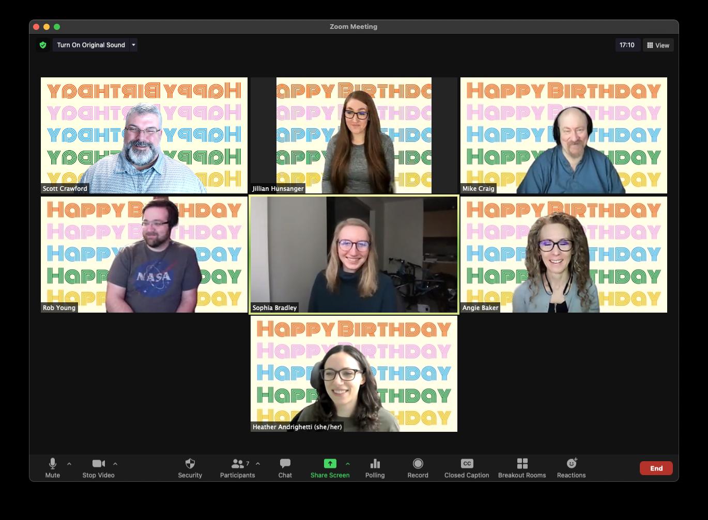 fully remote company celebrating team birthdays at soundrocket