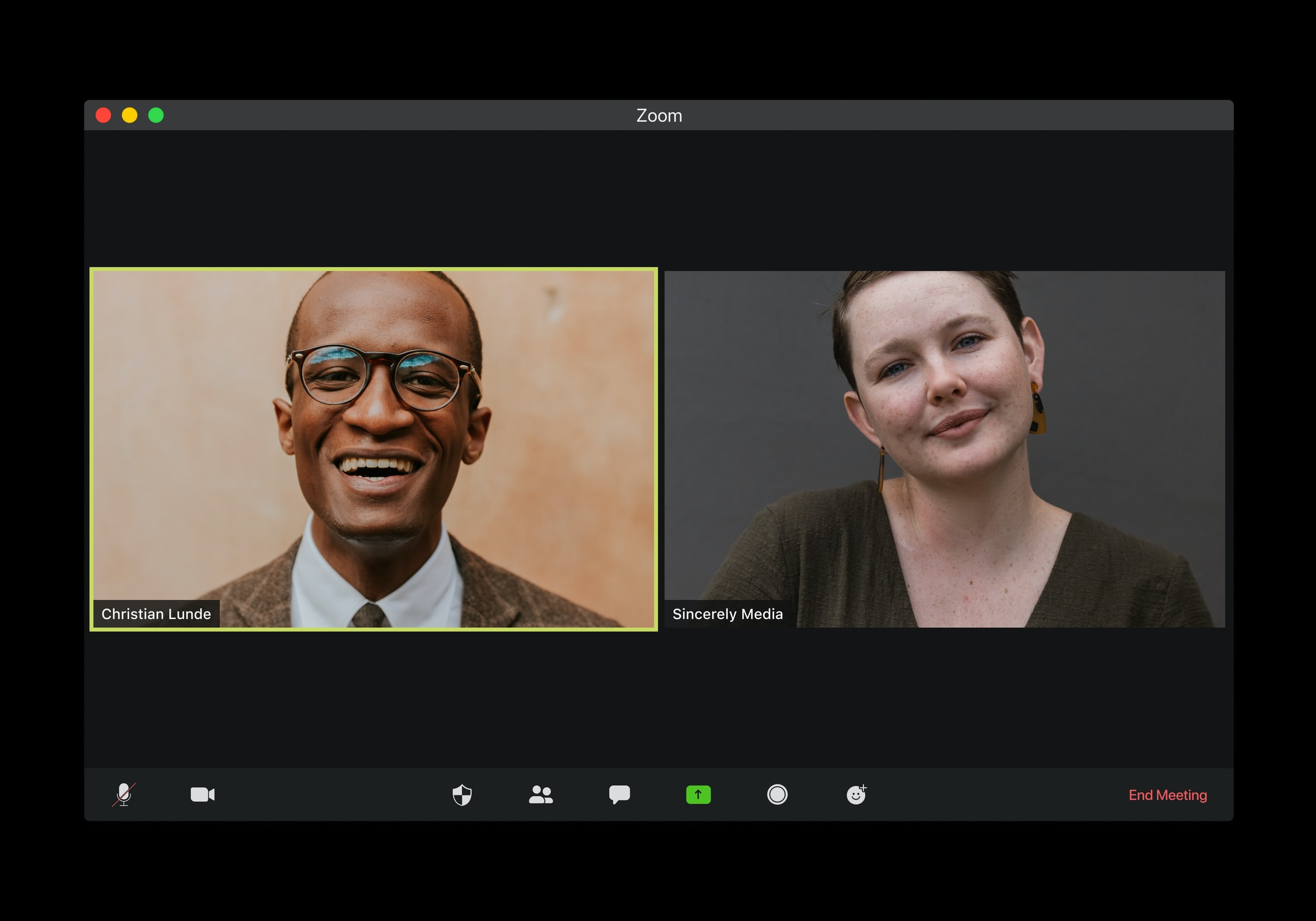 woman and man in zoom televideo interview